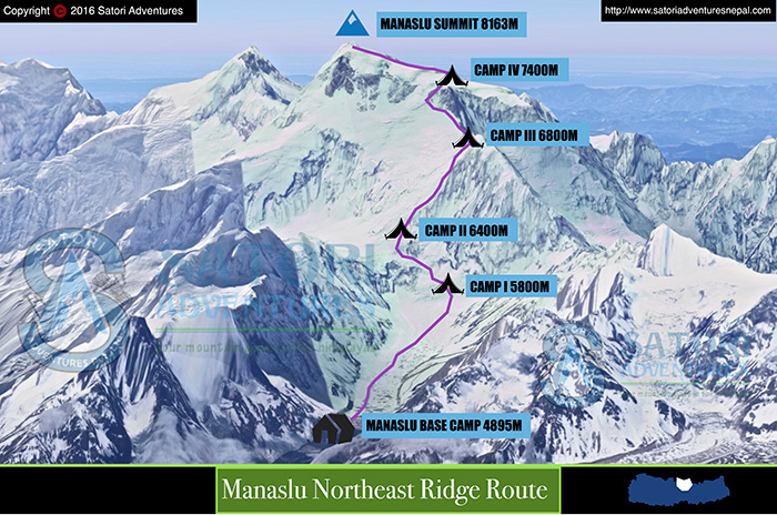 56manaslu climbing route map