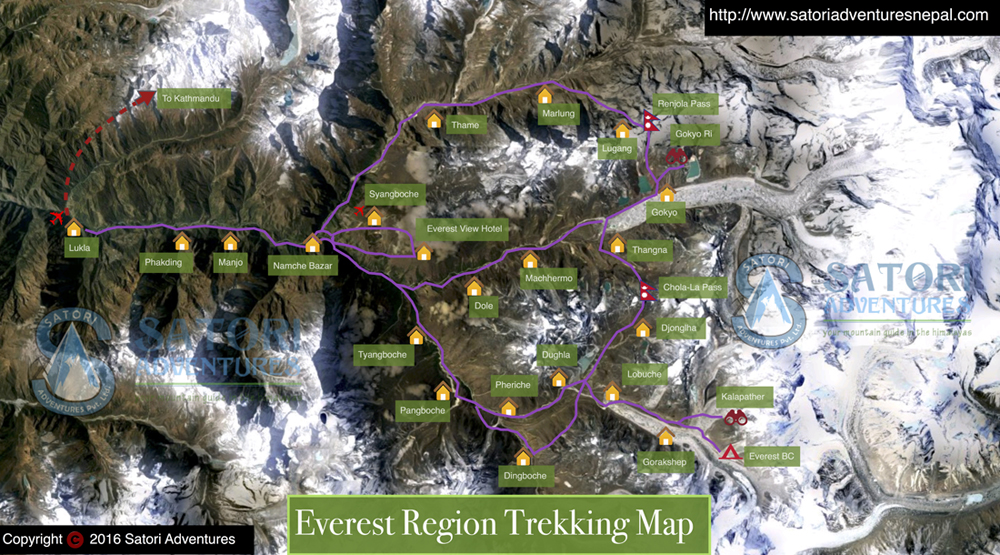 60everest region trekking map sm
