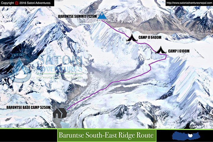 89baruntse climbing route map