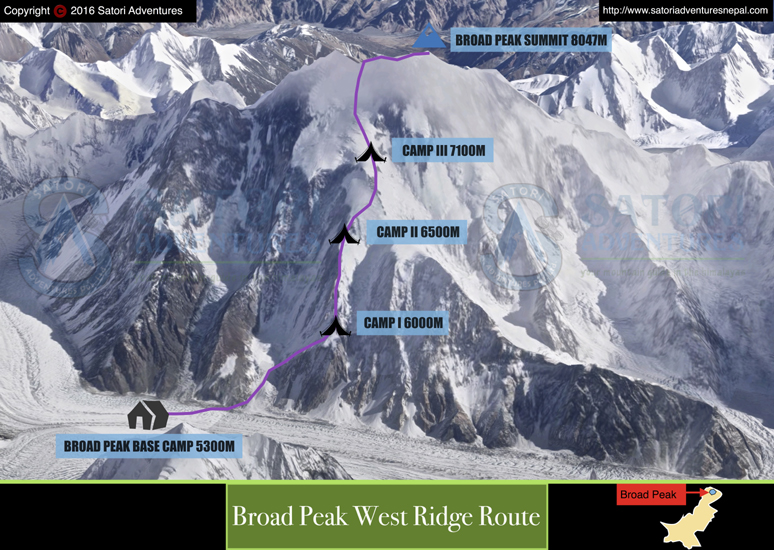 K2 Mountain Map Broad Peak Exped...