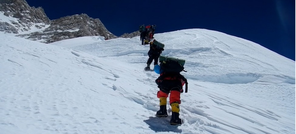 Climb up to Camp III from Camp II at Kanchenjungha