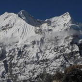 View of Boktoh peak climbing