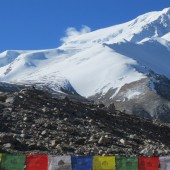 View of Shishapangma from Advance base camp in sunny day