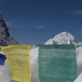 Singu Chuli High camp  I view with Tibetan flags